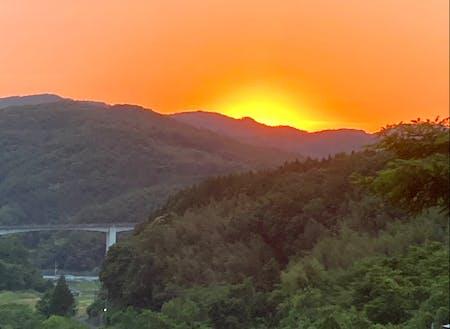 体験場所から見える夕日