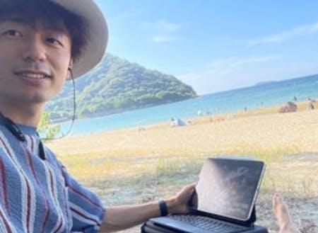 @菊が浜にてオンラインMTG