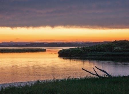 北海道の中でもとりわけ北に位置する、猿払村(さるふつむら)。約590k㎡という広大な土地の8割を山林と原野が占めています。宗谷丘陵を源に、大小多くの河川がオホーツク海に注いでおり、その周囲には湿原と湖沼が広がっています。