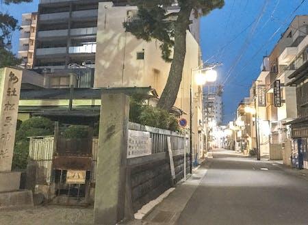 行灯とお店の灯りがともり始める、夕方の宮小路。