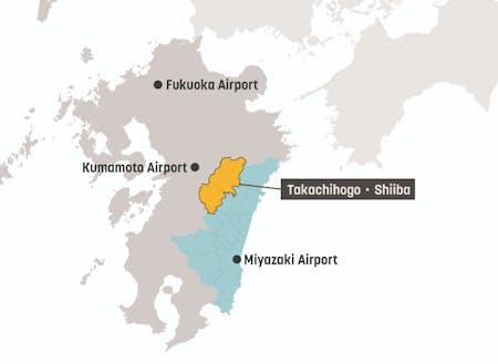 九州のほぼ中央に位置する高千穂郷・椎葉山地域が活動エリアです。世界でも希少な農業システムが今なお息づいています。