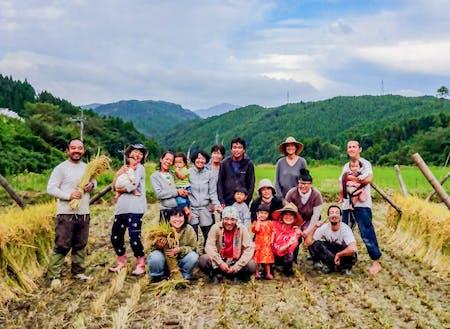せっかく山で暮らしているので、昨年は先輩移住者の有機農家さんと一緒にお米作りにチャレンジさせていただきました!