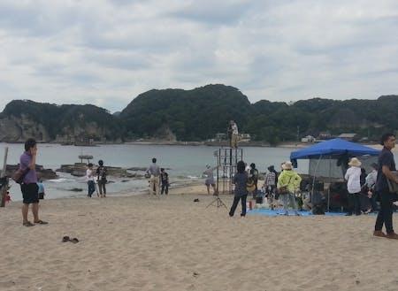守谷海岸での撮影の様子。守谷海岸は映画・ドラマ・CMなど人気の撮影スポットです