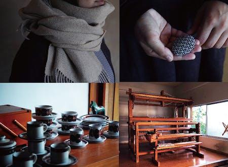 伊藤香澄さんの作品(上)と北欧で見つけた食器(左下)、機織り機(右下)