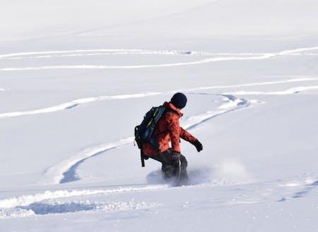 オープンバーンでの雪板