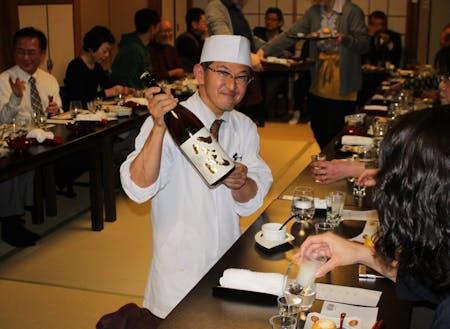 リアル日本酒の会。割烹千代の河村さん