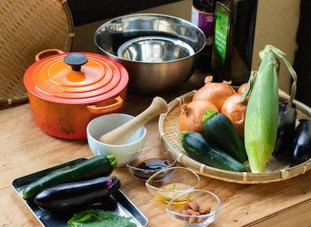 新庄村の夏野菜を使ったソース作り