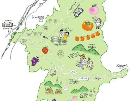 伊達市のイラスト地図