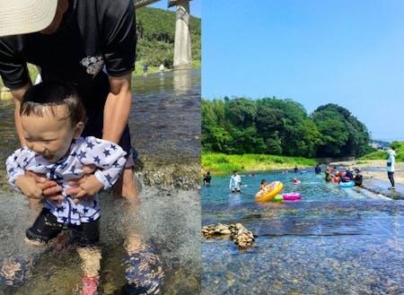 天然の河川プールは夏の定番お出かけスポット。たくさんのお友だちに会えるよ