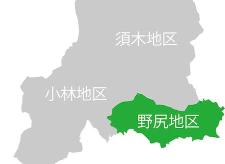 緑色部分。今回の募集についての活動地区