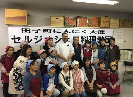 田子町のにんにく大使イタリア人シェフのセルジオさんの料理教室