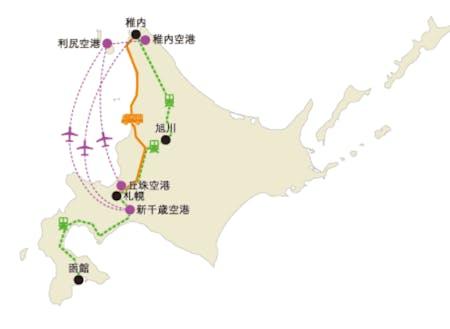 北海道から礼文島までの地図