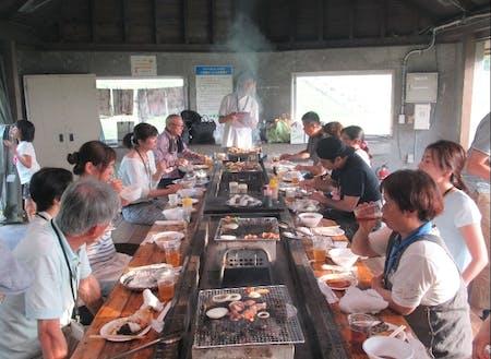 BBQでは深川産の食材を楽しみます。