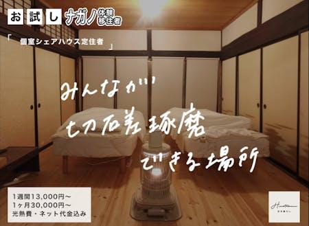 実際の個室の1つ。寝具は揃っているので衣服だけで引越し可能
