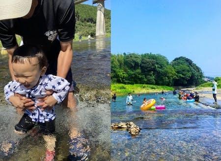 天然の川のプールは夏の定番お出かけスポット。たくさんのお友だちに会えるよ。