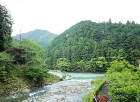 宿の前には小川は流れています。