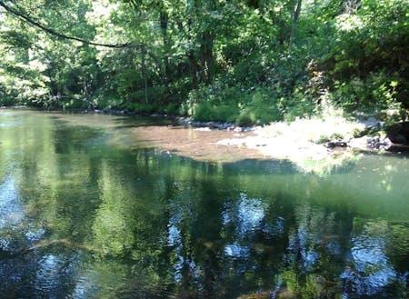 4m下まで見える名寄川上流。釣りや川遊びで遊びます。