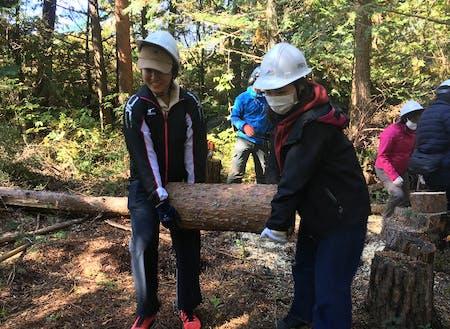 地域の生業である林業体験をする都市部の企業人(長野県伊那市)