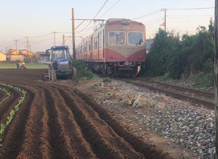 銚子電鉄沿線での農作業