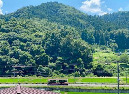 大波地区は山林と田園が広がっています。