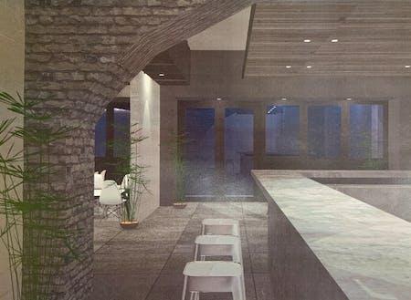 内装イメージ(暗めの照明で落ち着いた空間、随所に植物)