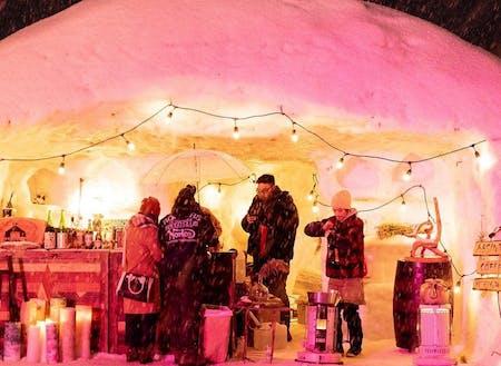 冬季にはそば祭りが開催されます。特産品のそば、巨大雪像アートで、皆様をおもてなし!