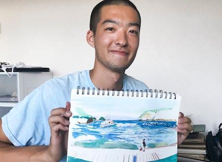悩める芸大生が絵を描きながらビーチで過ごしました。