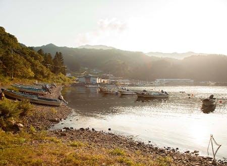 夕方の尾崎白浜漁港から見える景色が素晴らしい