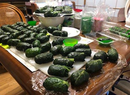 春まなのめはり寿司。家庭では、一度に大量に作ることが多い。