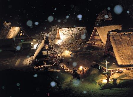冬の五箇山地域の菅沼合掌集落