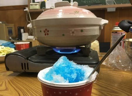 夕食は鍋で温まろう!デザートにかき氷も!