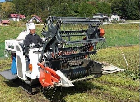 秋には農家さんがコンバインで収穫
