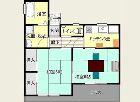 体験住宅の間取り。家具、家電は備え付けてあります(布団はありません)。