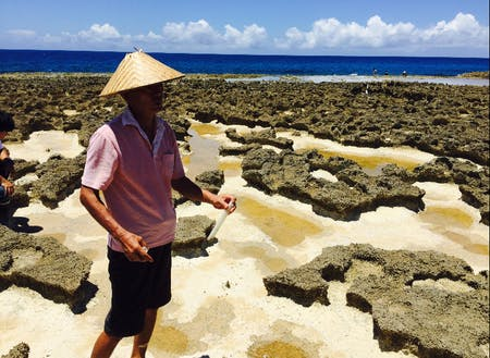 お隣の島徳之島の珊瑚礁のお風呂。ここで高濃度の海水を塩に。