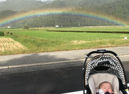 お散歩途中に見つけた虹!絶景に囲まれた毎日です。
