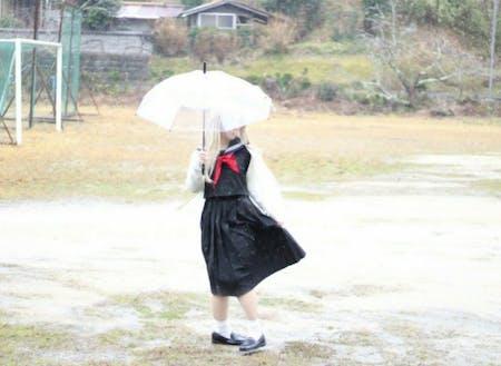 旧柳生中学校のグランドで撮影したコスプレ写真(夏目友人帳)