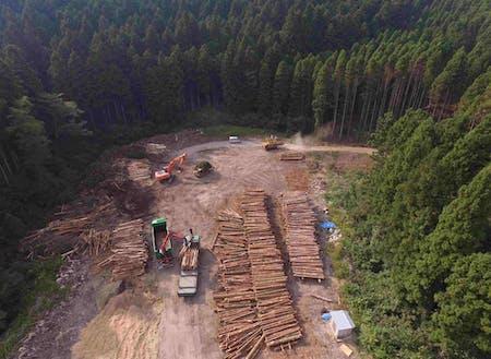 主土場(約1ha)のドローン撮影です。バイオマスチップ用の木材が大量にストックされています。これらは適宜チップ化し出荷されます。