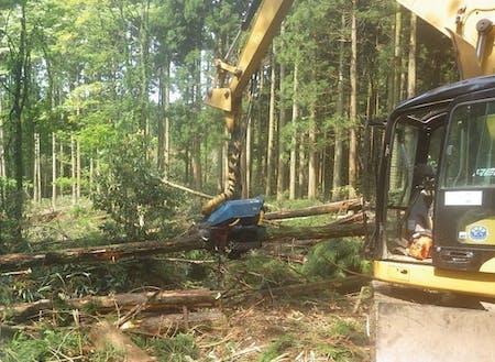 伐倒、枝払い、玉切、集積を1台で行えるハーベスター。これを乗りこなせるようになるのが当面の目標です。