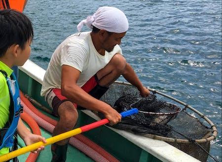 ゲストハウス「まるきんまる」の漁師体験には小さなお子様も。