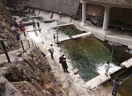 川上村で唯一の気軽に手ぶらで釣りが楽しめる施設の井氷鹿(いひか)の里。真後ろには川魚の養魚場があります。