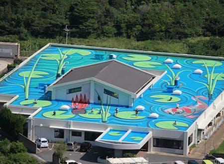 老人ホーム屋上に制作した日本最大の3Dアート。まちのブランディングなどに活用しています