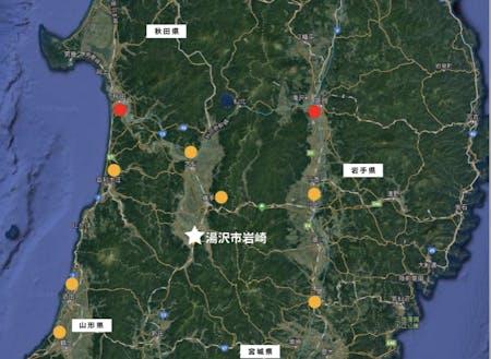 """""""東北のヘソ""""と呼ばれる中央部に位置する湯沢市岩崎地区"""
