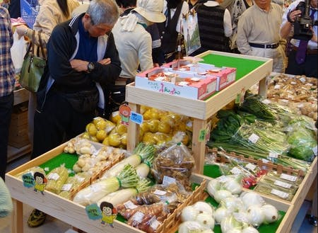 直売所に並ぶ野菜。新鮮なものが驚きの値段で手に入る。