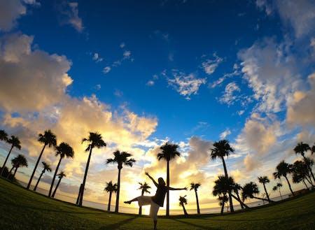 与名間海浜公園からの美しい夕陽