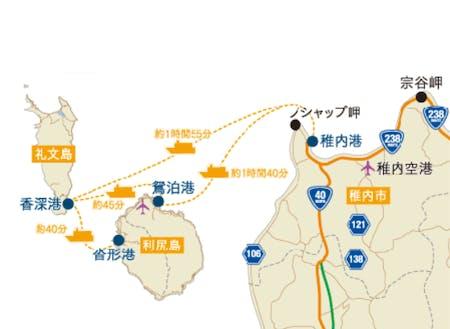稚内から礼文島までの地図