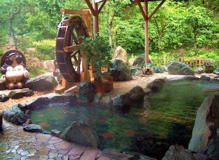 あわくら温泉 (その昔、狸が傷を癒した伝承が残る良質のラジウム泉。ご利用は、湯〜とぴあ黄金泉(日帰り)、あわくら温泉元湯(宿泊または日帰り)へ)