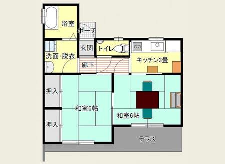 体験住宅の間取り。家具、家電は備え付けてあります(※布団はありません)