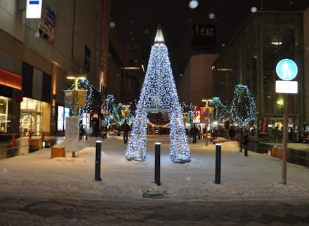 冬の旭川。雪あかりが優しく灯ります