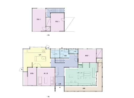 シェアハウスの間取り図。客室は3つで、縁側があるのも魅力。