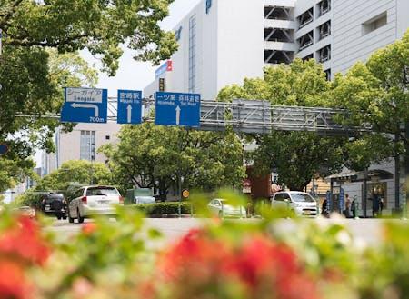 宮崎駅前のオフィス街。街中にも移住アンバサダーさんのお店がたくさん。